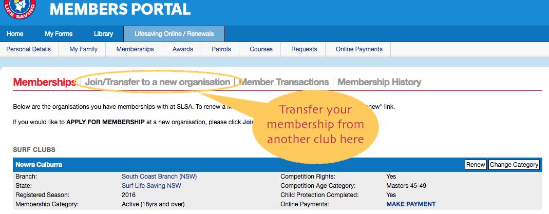 transfer membership