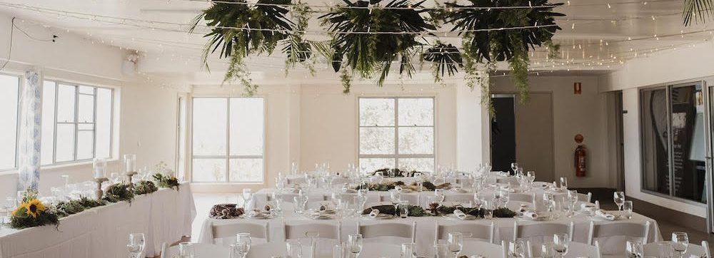 Surf club hall set for a wedding